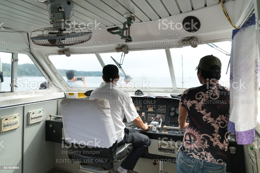 Inside the cockpit of a small passenger ship stock photo