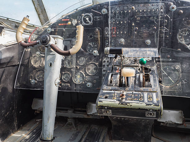 Inside the cockpit of a vintage small jet plane stock photo