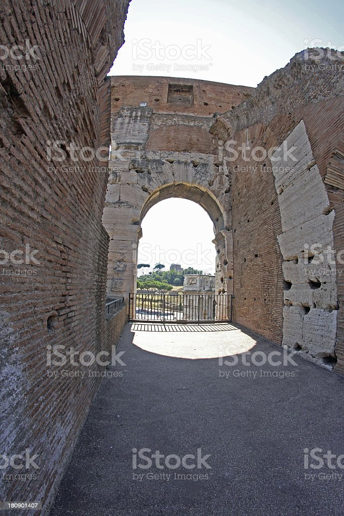 inside the Colosseum of Rome stock photo