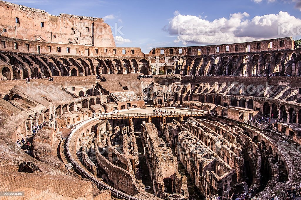 Inside the Colosseum Rome stock photo