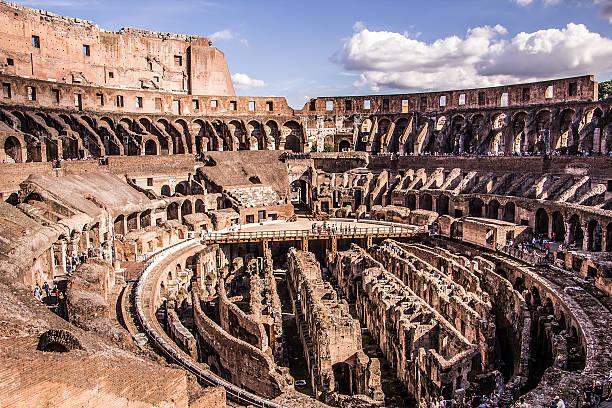 Inside the Colosseum Rome stock photo