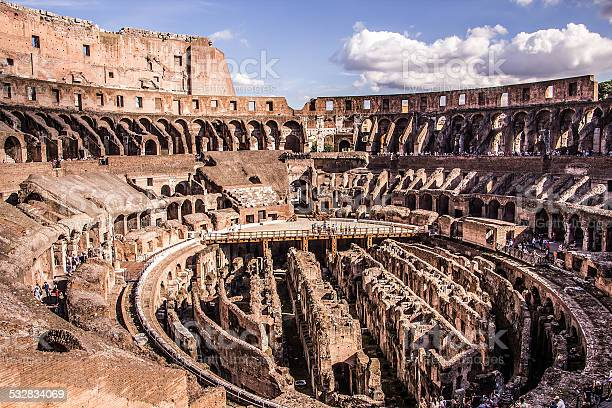 Inside The Colosseum Rome Stock Photo - Download Image Now