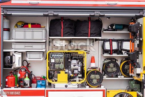istock Inside the fire engine, fire truck 1071181342