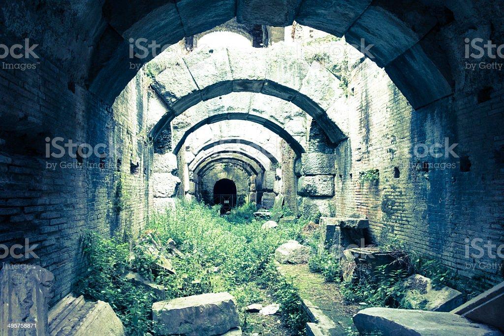Inside the Flavio Amphitheater, Capua, Italy stock photo
