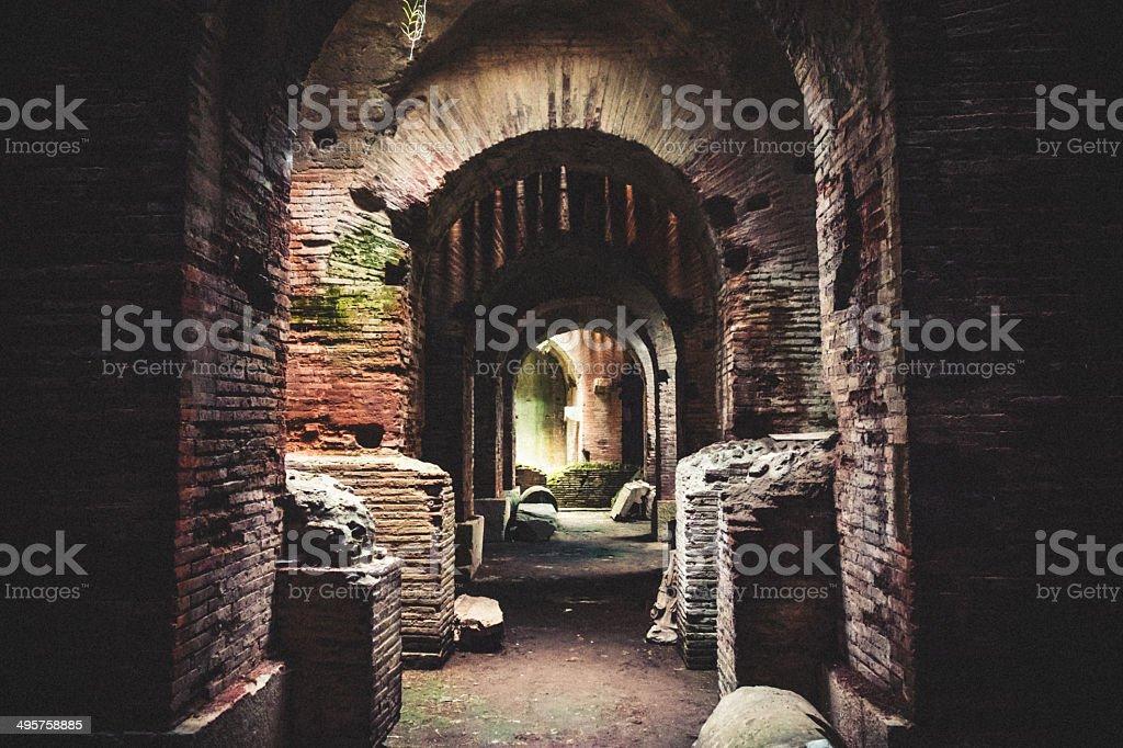 Interno L'Anfiteatro Flavio, Capua, Italia - foto stock