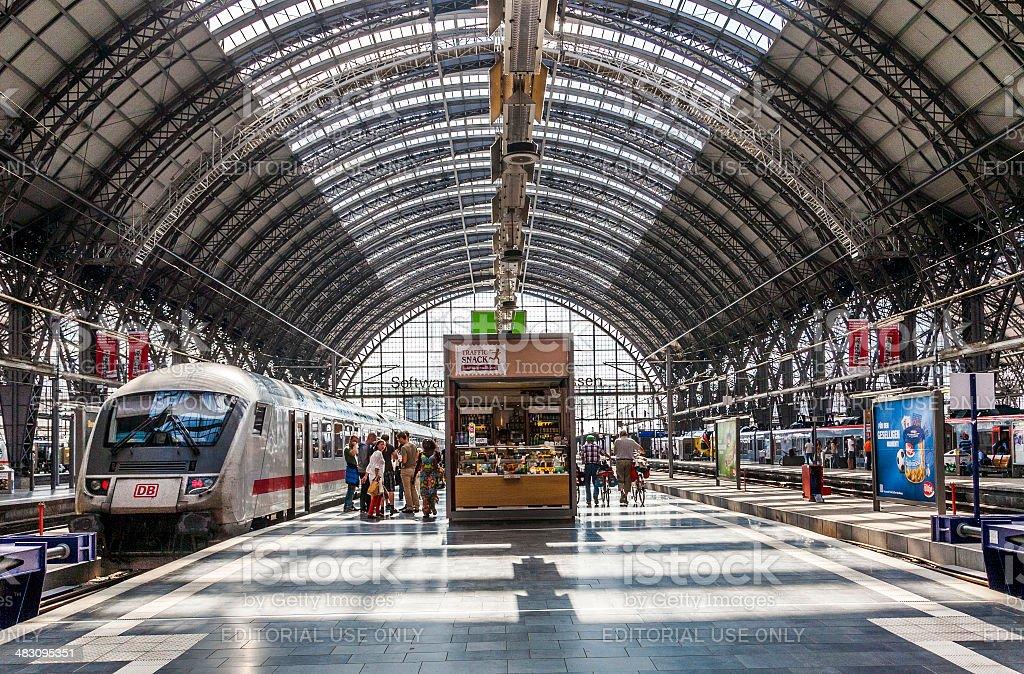 Inside the Frankfurt central station stock photo