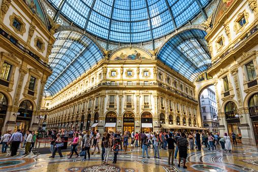 Inside the Galleria Vittorio Emanuele II in Milan