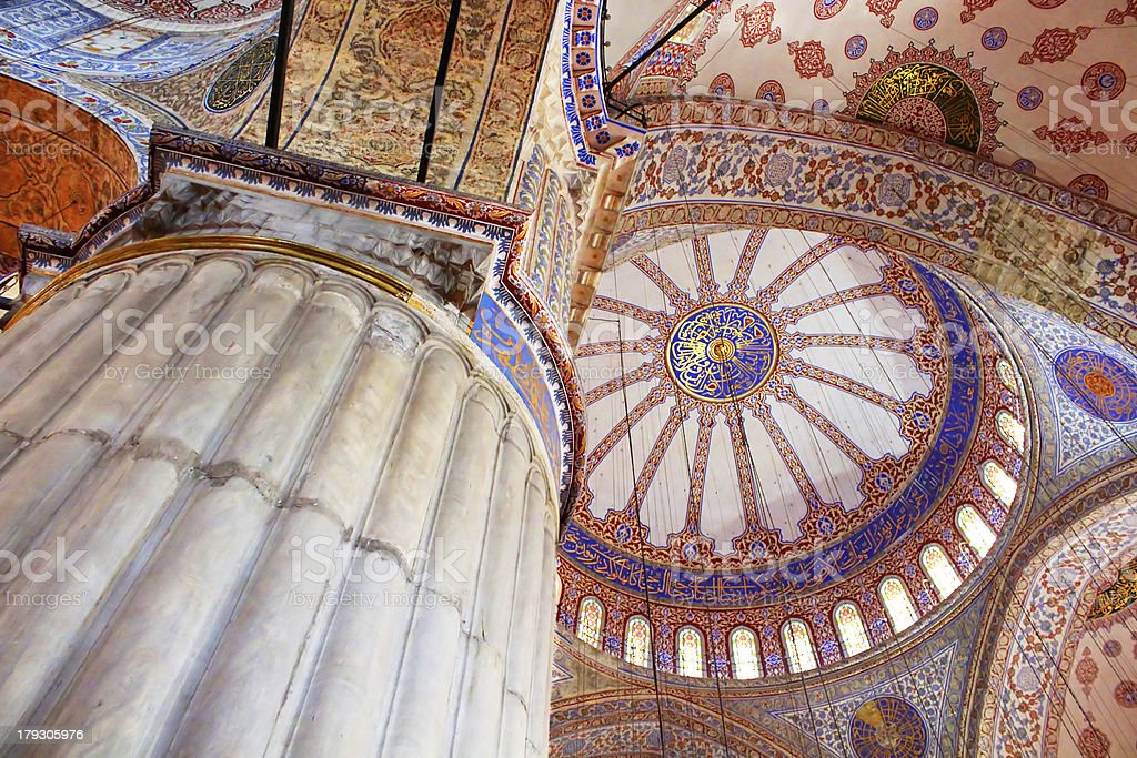 Inside the islamic Blue mosque in Istanbul, Turkey royalty-free stock photo