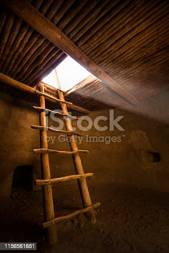 Bandelier monument New Mexico kiva  from ancient Ancestral Pueblo native Americans