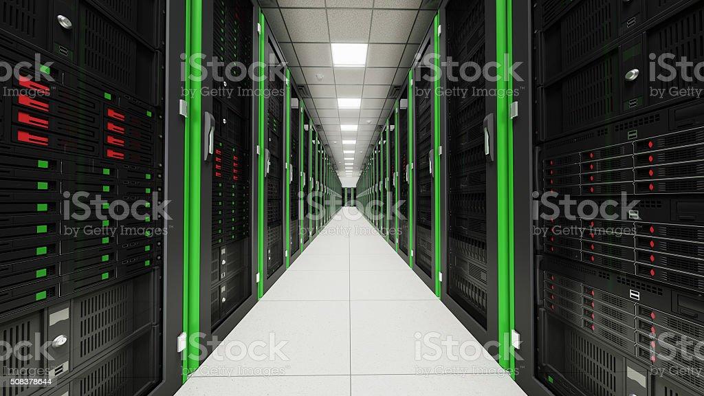 Inside the long server room tunnel stock photo