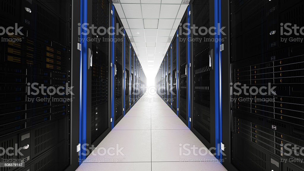 Inside the long server room tunnel with bright end stock photo