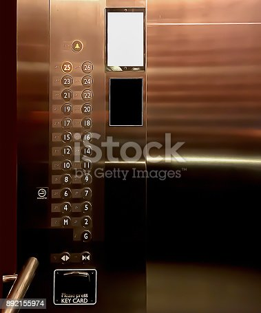istock Inside the luxury elevator shown control panel for graphic backgrounds. 892155974