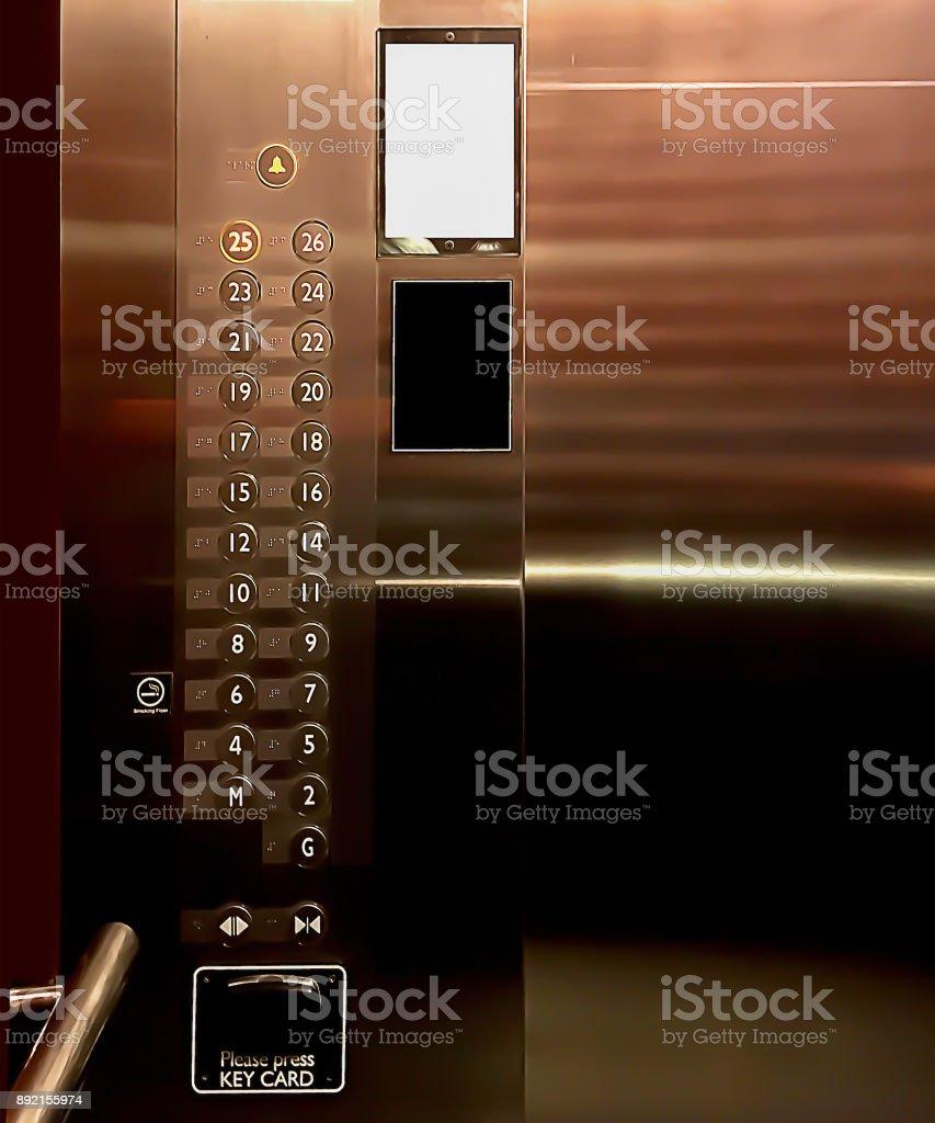In der Luxus-Aufzug gezeigt Control Panel für grafische Hintergründe. – Foto