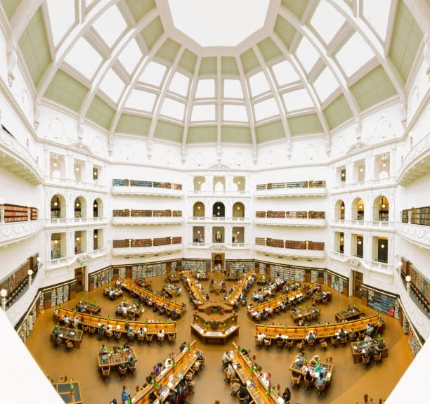 Inside the main dome of the Victorian State Library. stock photo