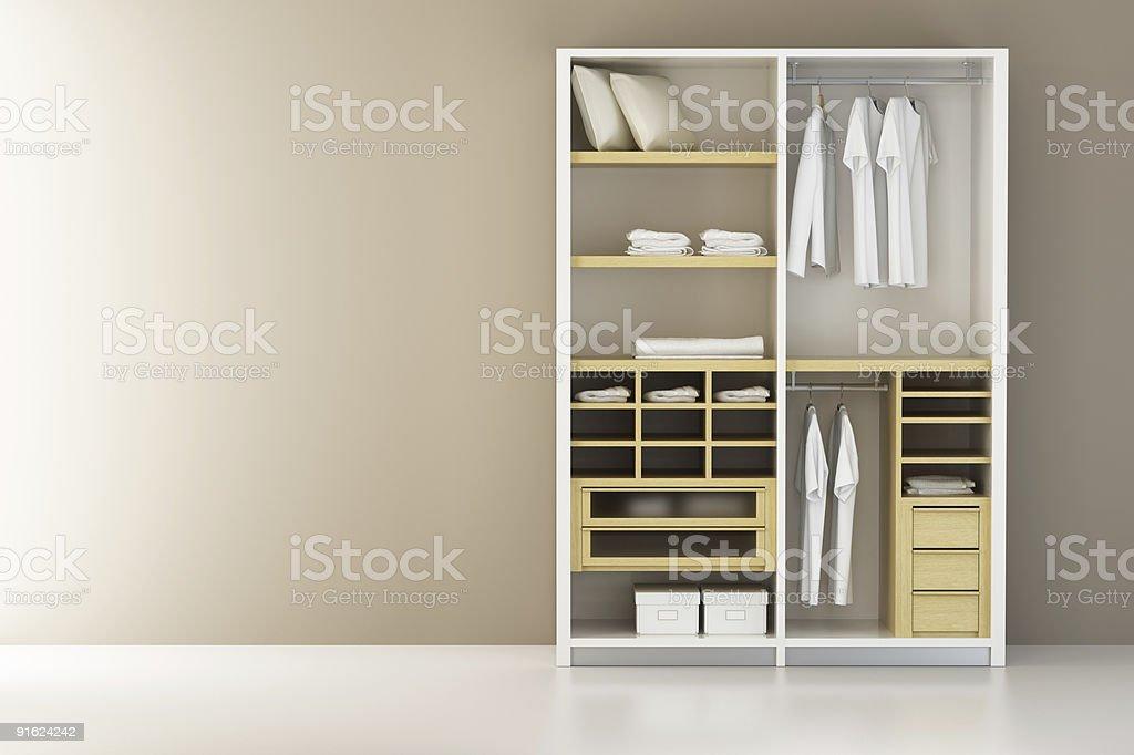 Dentro del armario de renderizado 3d moderna - foto de stock