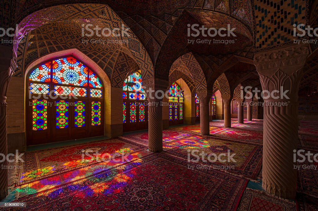 Inside the Nasir ol Molk Mosque in Shiraz, Iran stock photo