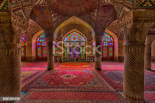 Interior with beautiful and artistic windows with stained glass inside the Nasir ol Molk Mosque (also