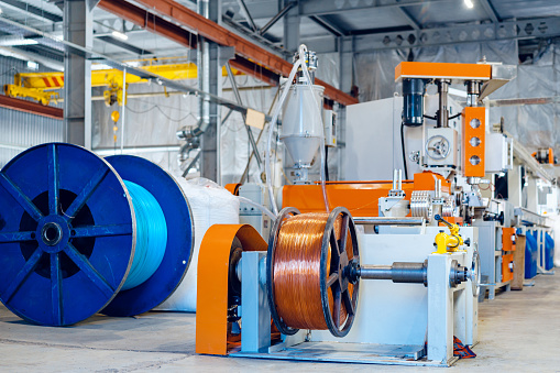 Inside the new factory manufacturing electrical cable.