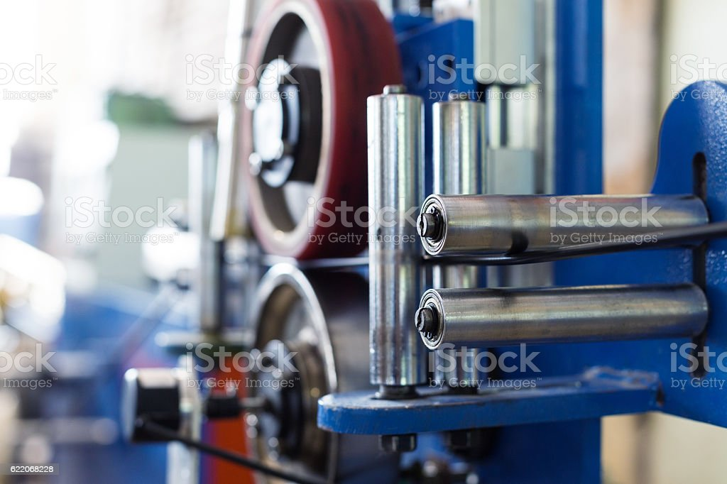 Inside the old factory manufacturing electrical cable. stock photo