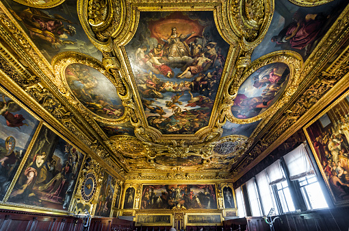 Inside the ornate Doge's Palace or Palazzo Ducale in Venice