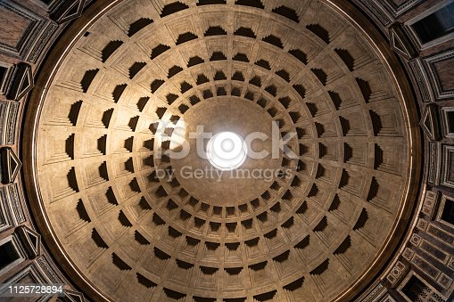 Looking up inside the 2000 year old temple Pantheon in Rome with his giant dome
