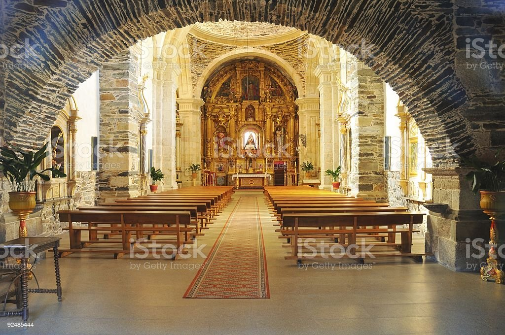 Inside the parish church of Cacabelos royalty-free stock photo