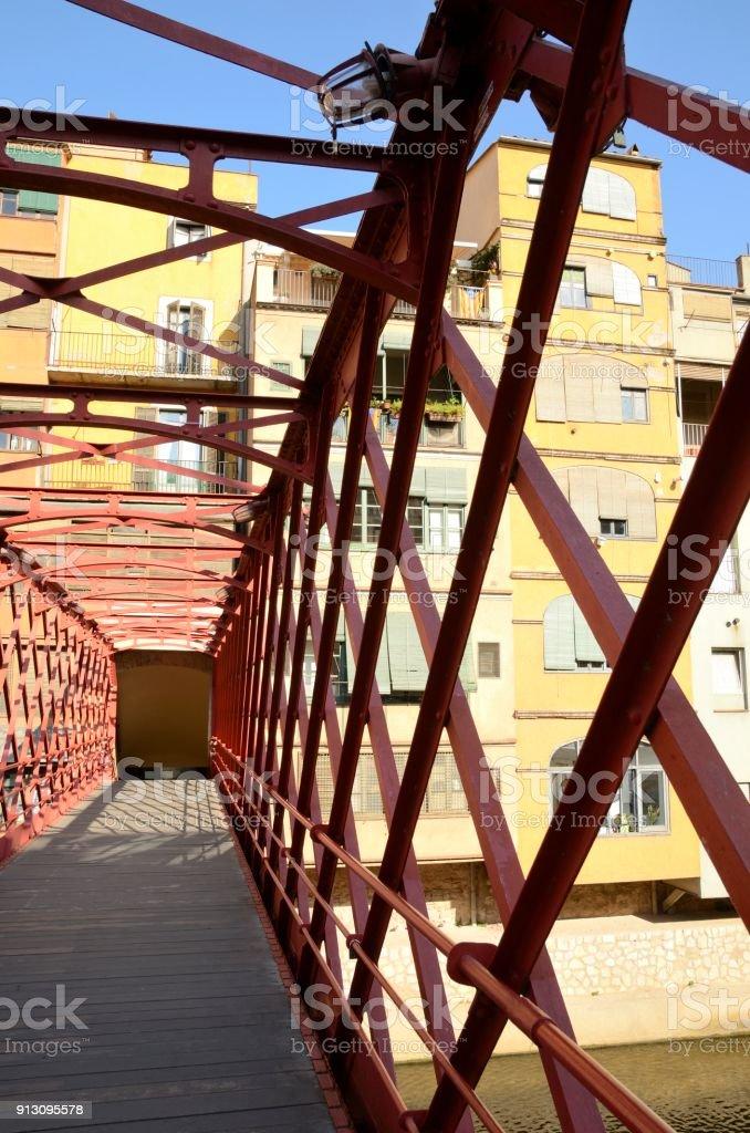 Inside the red iron bridge stock photo