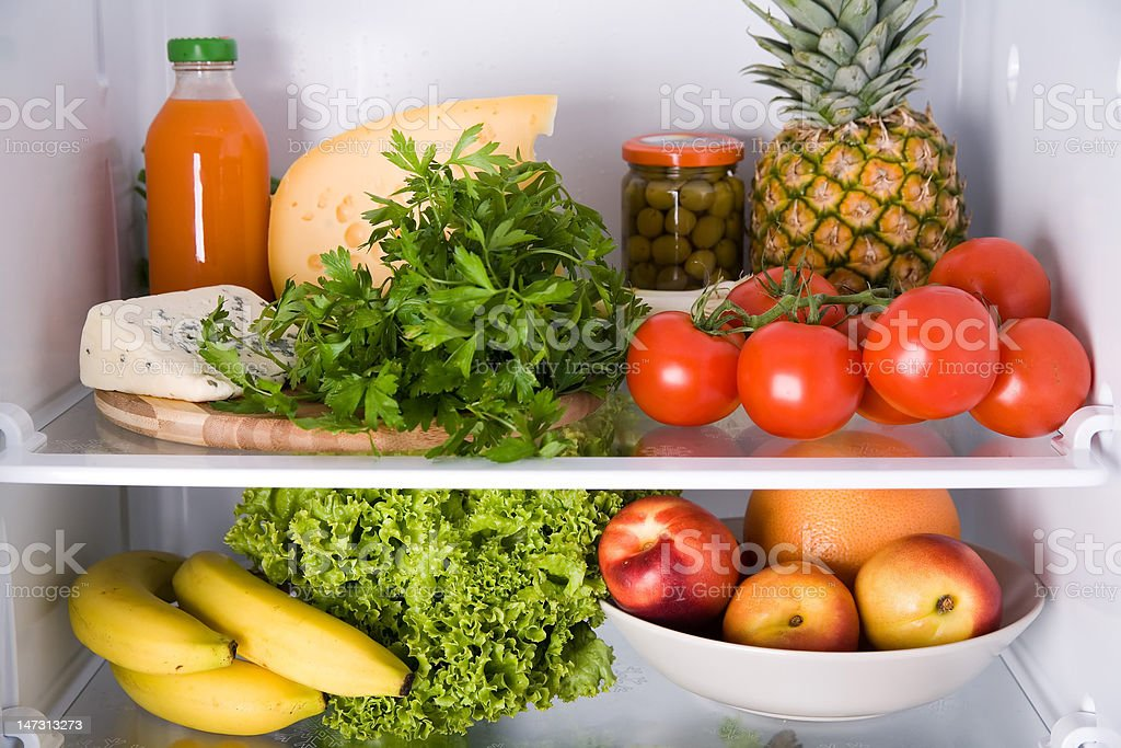 inside the refrigerator royalty-free stock photo