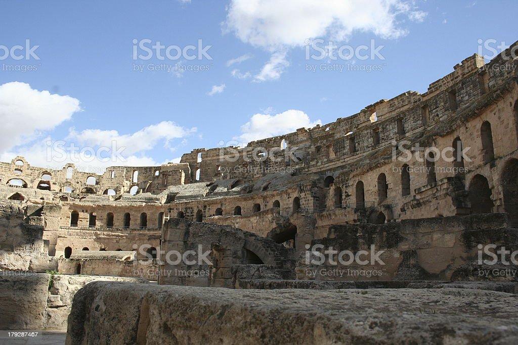 Inside the Roman colloseum of El Djem, Tunisia stock photo