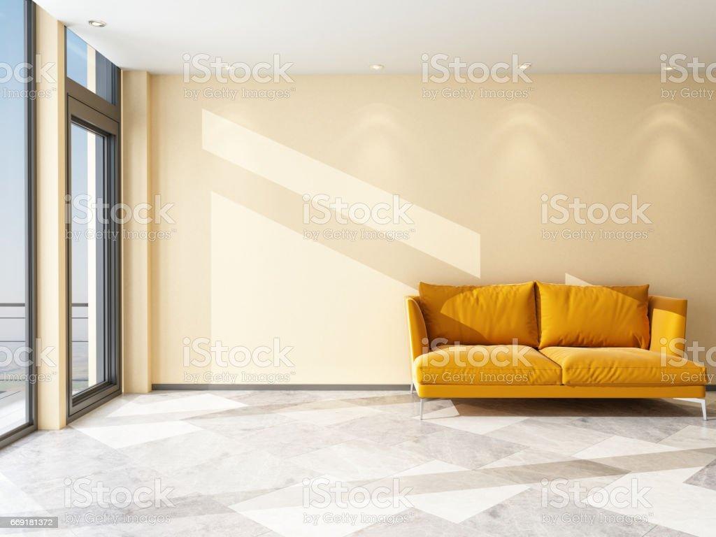 Inside the Room with an Orange Sofa stock photo