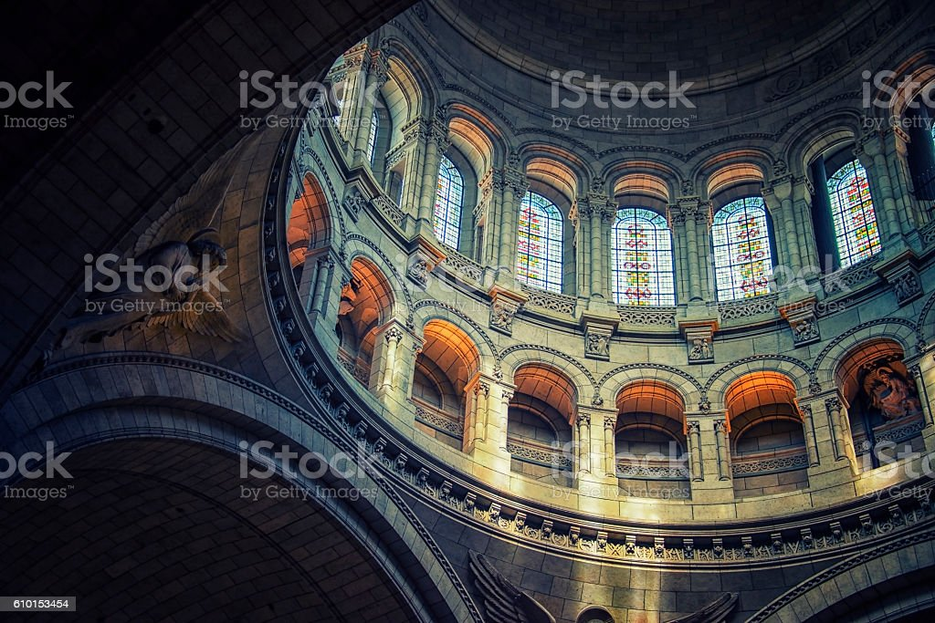 Inside the Sacre-Coeur basilica in Paris stock photo