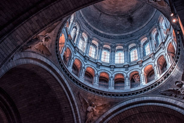 inside the sacre-coeur basilica in paris - cupola stock pictures, royalty-free photos & images