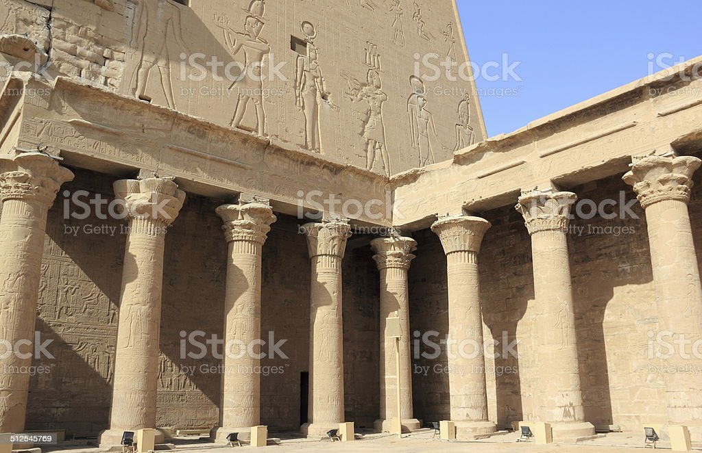 Inside the Temple of Edfu. Egypt. stock photo