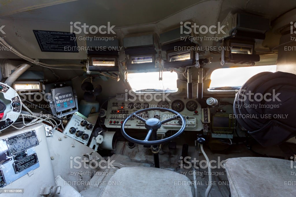 Inside the unified command-staff vehicle R-149MA1 of russian army based on the BTR-80 stock photo