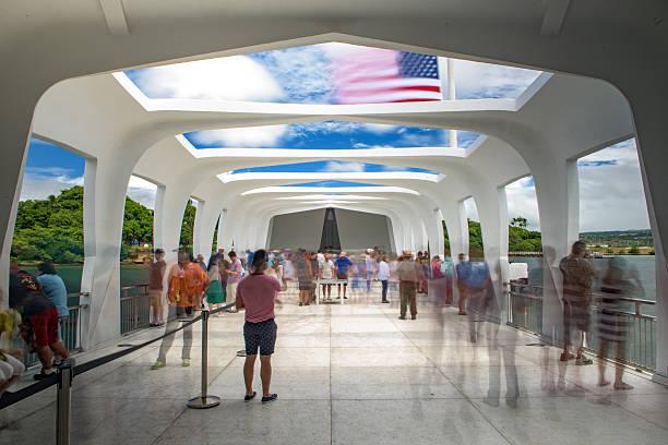 Inside the USS Arizona memorial in Pearl Harbor, Hawaii stock photo