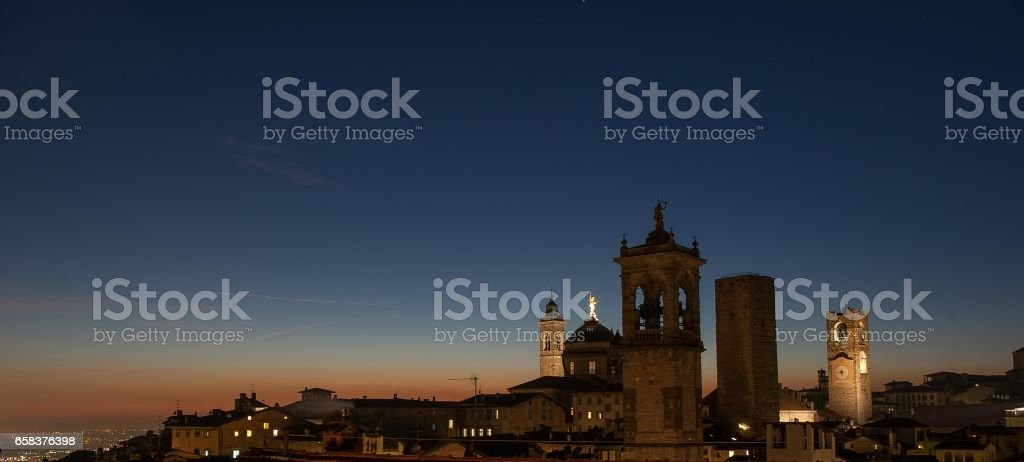 inside the walls of the ancient city of Bergamo stock photo