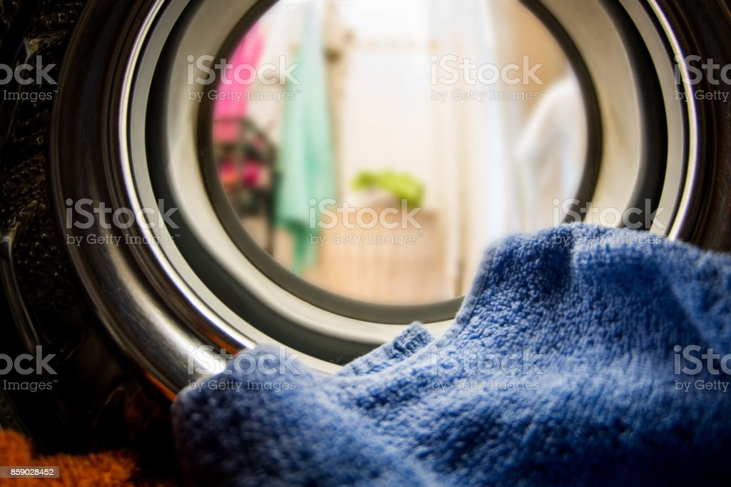 Inside the washing machine stock photo