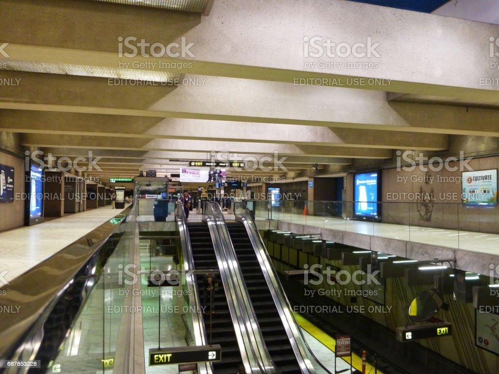 Inside Underground Embarcadero Metro Station in San Fransico stock photo