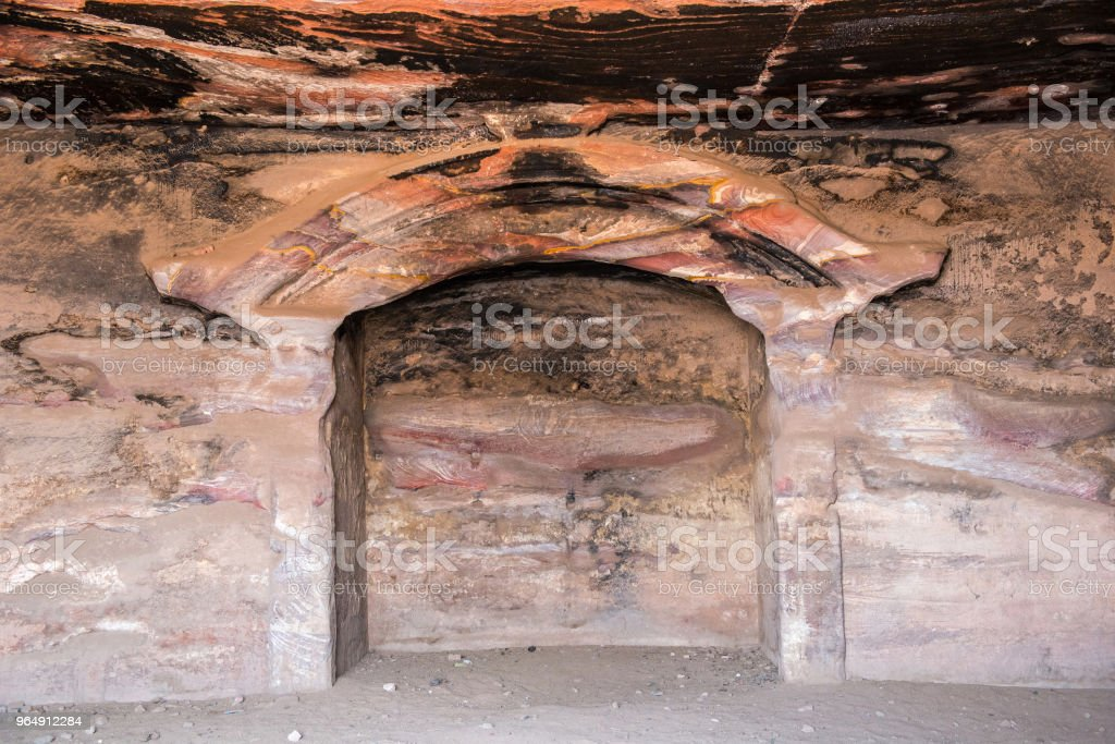 Inside underground royal tomb, Petra, Jordan royalty-free stock photo