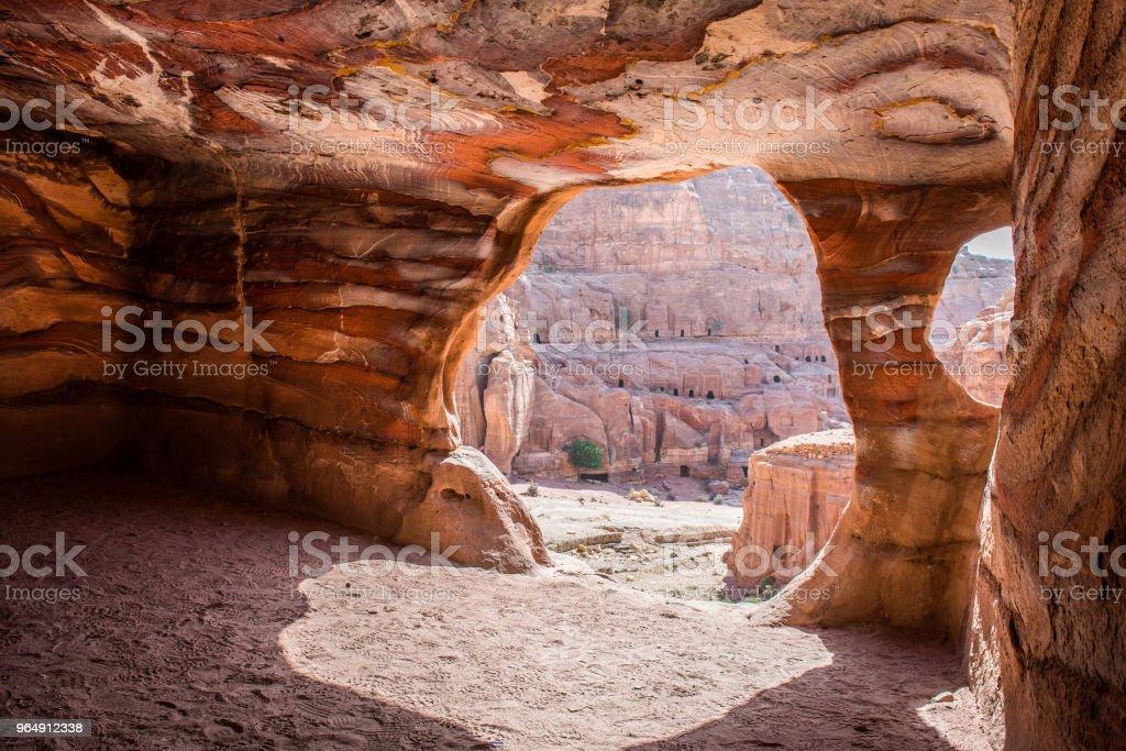 Inside underground royal tomb, Petra, Jordan - Royalty-free Ancient Stock Photo