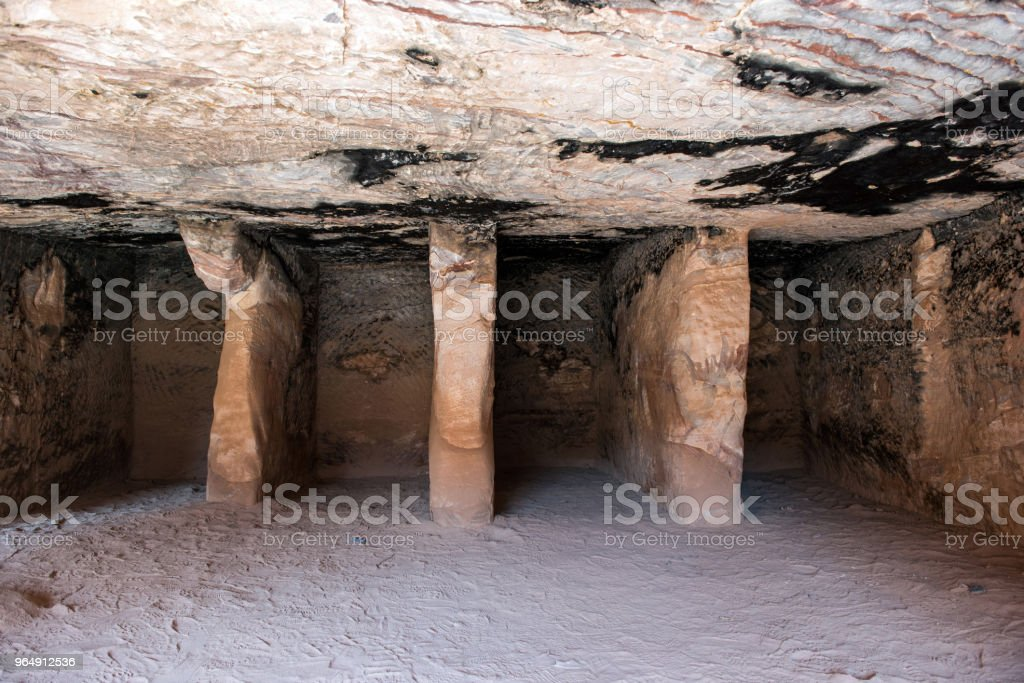 Inside underground royal tomb, Petra, Jordan royalty-free stock photo