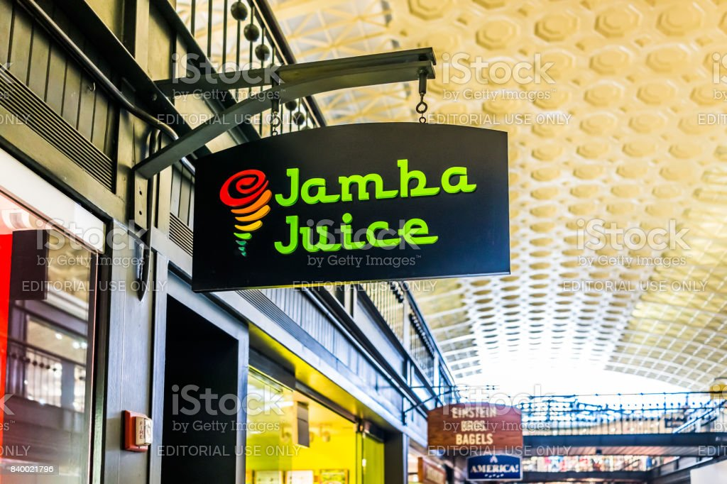 Inside Union Station in capital city with shopping mall food court and Jamba Juice sign stock photo