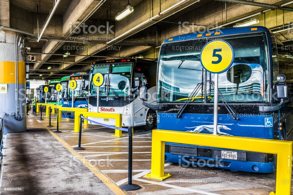 Inside Union Station parking garage in capital city with row of buses stock photo