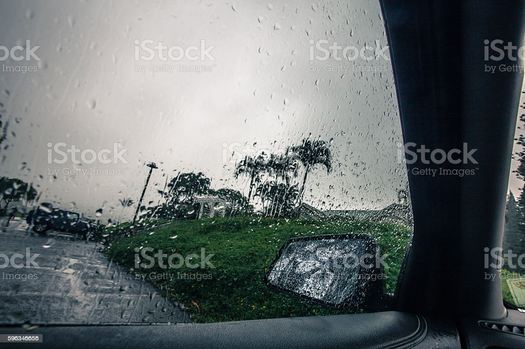 Inside vehicle raining looking out the window royalty-free stock photo