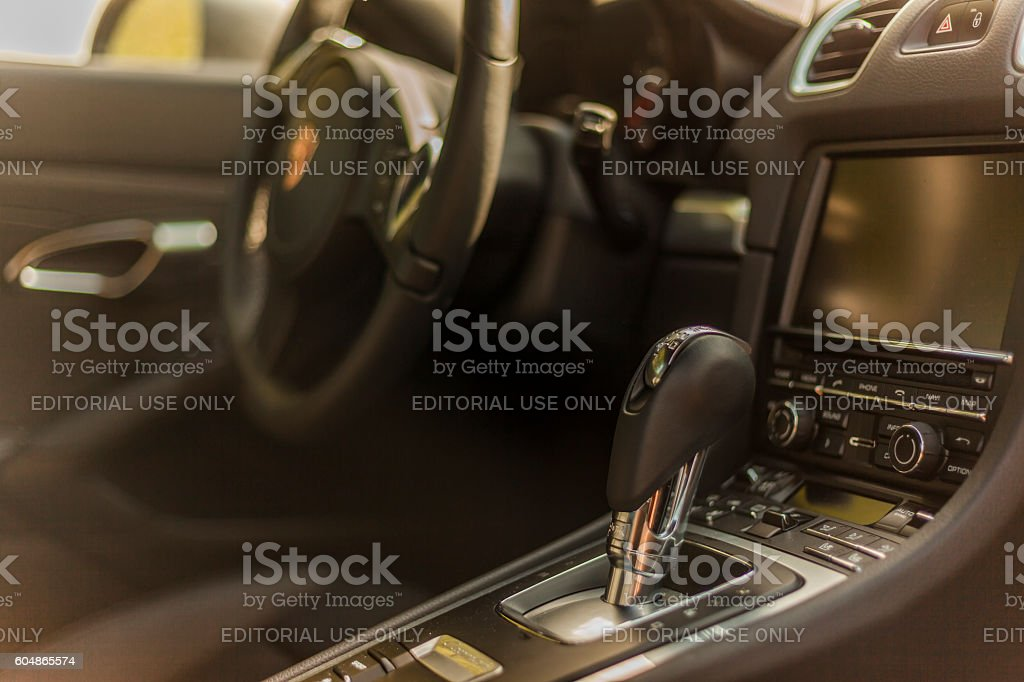 Inside view details of a Porsche Cayman in residential area stock photo