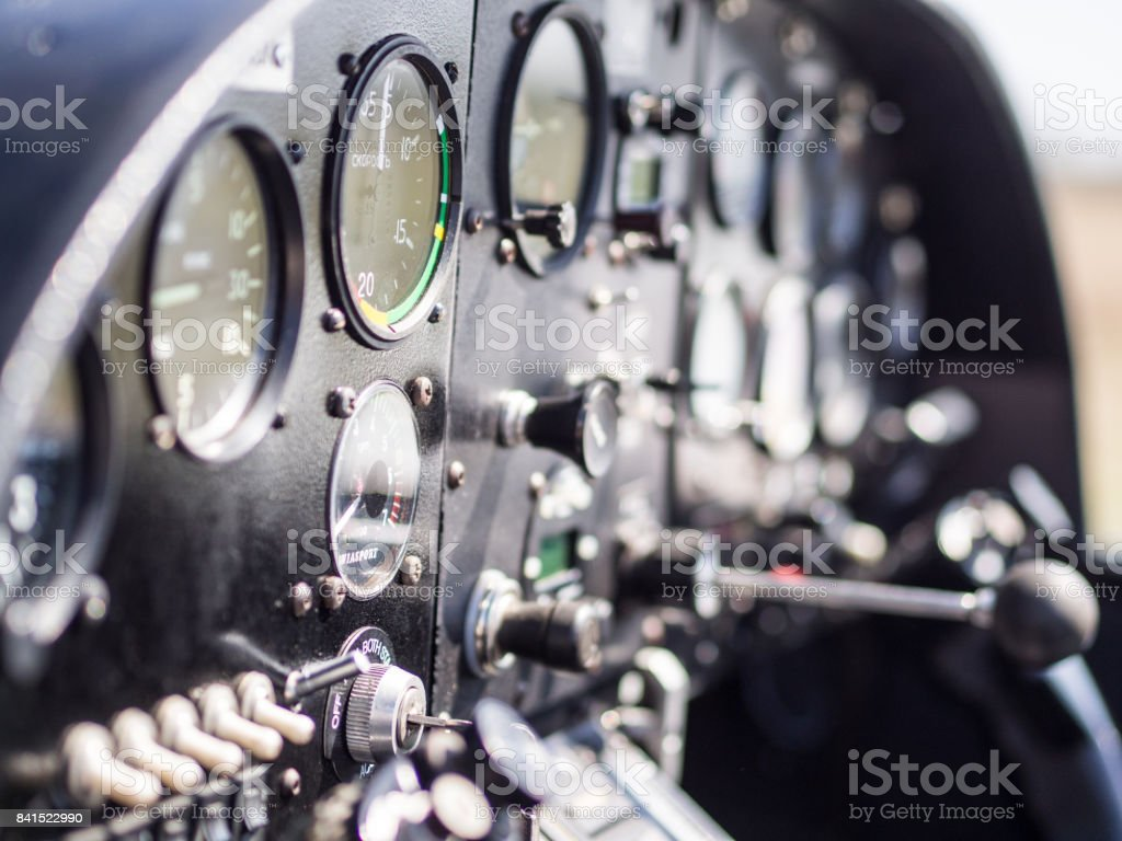 Inside view in cockpit of small airplane stock photo