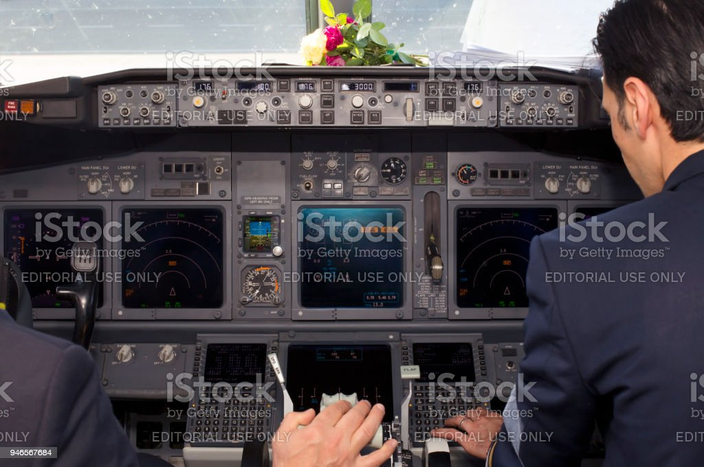 Inside view of a Boeing 737-800 aircraft cockpit stock photo