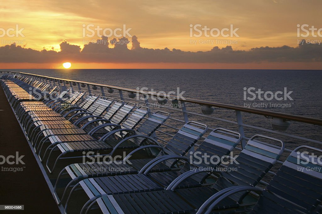 Inside view of a cruise ship at sunset royalty-free stock photo