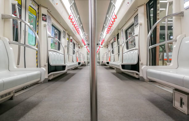 Inside view of a subway car, no people stock photo