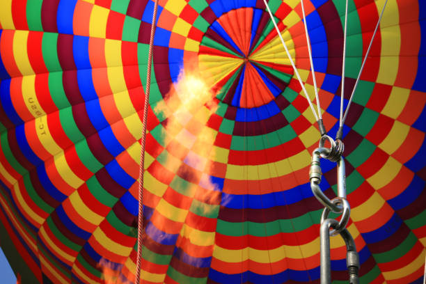 inside view of brightly coloured hot air balloon stock photo